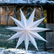 LED-stjärna Jumbo, utomhus, 11 uddig, Ø 100 cm vit