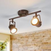 Cansu - LED-taklampa m två ljuskällor, brunt-guld