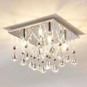 Glittrande LED-taklampa Saori med kristaller